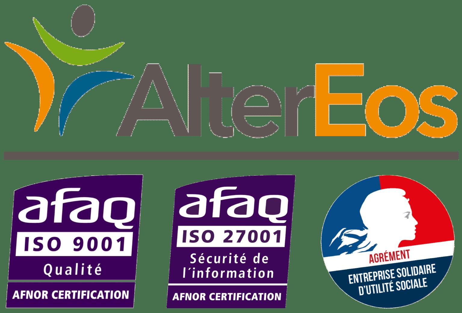 Logo d'AlterEos et des certifications ISO et ESUS